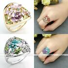 Fashion Women Girl Silver/Gold Oil Painting Flower Band Cocktail Finger Rings