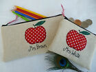 Personalised Teacher Purse or Pencil Case, Red Apple on Linen Choice of Wording