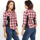 TheMogan Roll Up Sleeve Ribbed Panel Plaid Shirt Checked Button Down Top