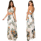 Summer Women Floral Printed Two Piece Crop Top + Skirt Dress Set Skirt Dress