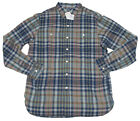 Polo Ralph Lauren Mens Blue Grey Custom Fit Slim Plaid Button Up Casual Shirt