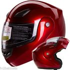 Bluetooth Compatible METALLIC RED MODULAR MOTORCYCLE HELMET DOT Size S, M, L, XL