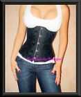 Black Corset Underbust Waist Cincher Laceup Back Fast Ship from NEW YORK Sz S-2X