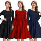 Women's Long Sleeve Vintage Style 1950s Bridesmaid Party Swing Dress