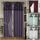 4pcs Faux Silk Flocked  Floral Panel Window Curtain Set Purple Black White Aqua