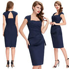 Navy Blue KNEE Women 50s Vintage Bodycon Party Dress Wiggle Casual Office Dress