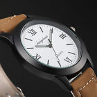 Mens Fashion 4 Colours Roman Dial Black Case Leather Wrist Quartz Watch Gift