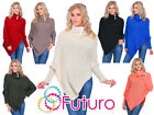 Womens Chunky Asymmetric Poncho Turtleneck Jumper Knitted Sweat Size 8-18 FAS09