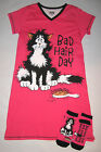 Bad Hair Cat Funny Nightshirt Sleepshirt Slipper Socks Womens Lazy One Sleepwear