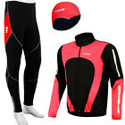 Mens winter cycling Jackets Trouser with  padded and skull under Helmet Caps Red