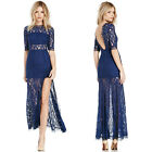 New Spring Women Sexy Long Dress Backless High-slit Hook flower Hollow out Lace
