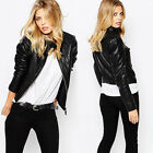 Autumn Winter Fashion Black Motorbike Jacket Women Casual PU Short Jacket Pocket
