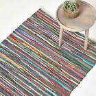 Handmade Indian Chindi Rug 100% Recycled Cotton Large Small Hand Woven Floor Mat