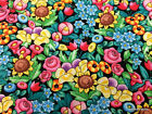 Colorful Packed Flowers Mary Engelbreit Clustered Floral Bouquet Fabric t2/30