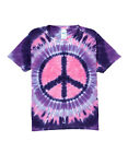 Groovy Blueberry Kids Boys and Girls Tie-dye Pink and Purple Peace T-Shirt