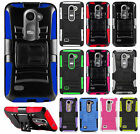 Cricket LG Risio Combo Holster HYBRID KICKSTAND Hard Rubber Case Phone Cover