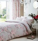 Catherine Lansfield Canterbury Grey / Pink Duvet Quilt Cover Bedding Set 3 Sizes