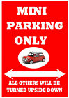 "Classic MINI (Leyland Austin BL Rover) ""PARKING ONLY"" Metal SIGN / NOTICE plaque"