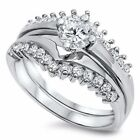 CZ Weding Rings Sets Sterling Silver Rhodium Plated Jewelry Gift Selectable