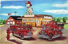FIRE TRUCKS & DALMATION ART PRINT Fireman Firefighter Station Diner Engine Dept