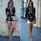 New Chiffon Womens T Shirt Floral Print Long Sleeve Blouse Casual Tops