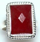 Ruby Red JADE Sterling SILVER Rings Faceted Gemstone 925 Ring Sizes L,5½ to Y,12