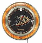 Holland Bar Stool NHL 15* Double Neon Ring Logo Wall Clock