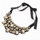 Sale Women Lady Fashion Bib Crystal Pendant Long Chunky Chain Statament Necklace