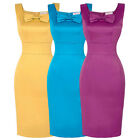 Glamo Women's Cocktail Party Pencil Bodycon Square Neck Vintage Style MIdi Dress