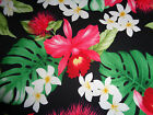 Hawaiian Print Cotton- Black with Orchids - samples available
