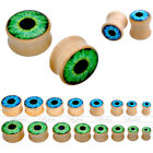 2pc Solid Organic Wood Evil Eye Saddle Ear Plug Tunnel Stretching Expander Gauge