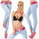SEXY SKINNY DENIM JEANS LIGHT BLUE CON CINTURA BELT GURTEL SIZE S-M-L-XL
