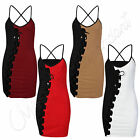 Womens Celebs Monochrome Aide Front Lace Up Ladies Strappy Bodycon Party Dress