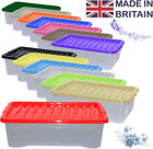10 x 32L 32 Litre Underbed Plastic Storage Clear Box Stack Container Colour Lid