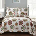 Julia Floral Quilted Coverlet Set Lightweight Reversible Wrinkle Free Bedspread image
