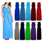 Womens Sleeveless Plain Long Ladies Spring Coil Maxi Stretch Dress One Size 8-14