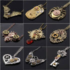 Hot Vintage Steampunk Jewelry Machinery Gear Pendant Necklace Choker Chain