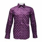 TR Premium Mens Slim Fit Button Down Leafy Printed Fashion Shirt TR-665 Purple