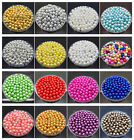 New DIY 6mm 8mm Acrylic Round Pearl Spacer Loose Beads Jewelry Making