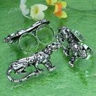 Punk Silver Alloy Rhinestone Animal Leopard Double Finger Ring Jewelry Gift