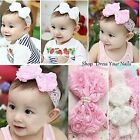 Bow Headband with Pearls Baby Infant Toddler Lace flower Girls Head  Band