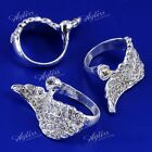 Silver Gold Crystal Rhinestone Angel Wing Finger Ring Women Men Punk Jewelry