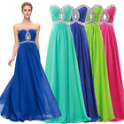 Strapless Chiffon Maxi Beaded Keyhole Bridal Ball Gown Evening Prom Party Dress