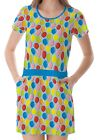 Blue Balloon Pattern Women's Clothing Top Dress With Pockets