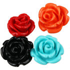 Multi-Color Artificial Coral Rose Flowers Carved Stone Pendant Fit Necklace