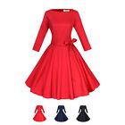 Vintage Long Sleeve Round collar Big Swing Dresses Women Tunic Slimming Dress
