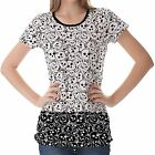 White Black Skull Pattern Womens Ladies Short Sleeve Top Shirt Blouse