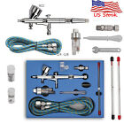 US Dual Action Gravity Feed Airbrush Gun 0.2/0.3/0.4/0.5mm Art Paint Tattoo Kits