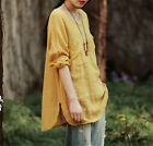 Vogue Summer Plus Size Cotton Linen Loose T Shirt Women Lady Long Sleeve Dress