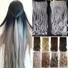Real as human One Piece Half Full Head Clip in Hair Extensions Sliver Gray F66